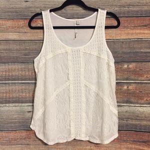 Lauren Conrad white lace tank top